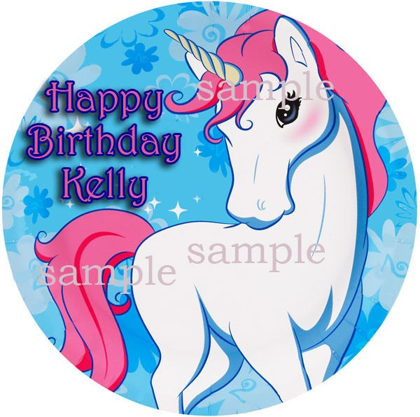 UNICORN Round Edible CAKE Decoration Image Icing Topper Enchanted