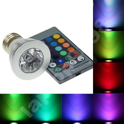 Changing E27 3W 180LM RGB LED Light Bulb Lamp + IR Remote Control