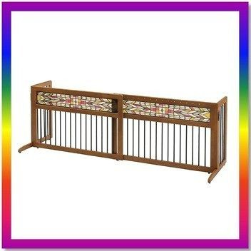 RICHELL FREESTANDING EXPANDABLE WOODEN PET DOG GATE FENCE MISSION