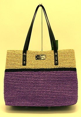 NWT KATE SPADE STRAW Natural/Purple Tote Bag Purse Extra Large