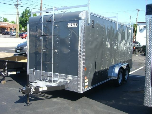CAR MATE ENCLOSED CUSTOM CARGO CONTRACTOR TRAILER 7k GVWR,CHARCOAL GRY