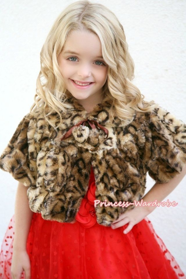Leopard Kids Girl Soft Fur with Pearl Bead Capelet Coat Size 2 6Year