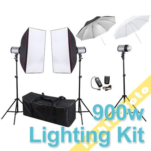 900W Photo Studio Mini Flash Monolight Kit Carry Bag