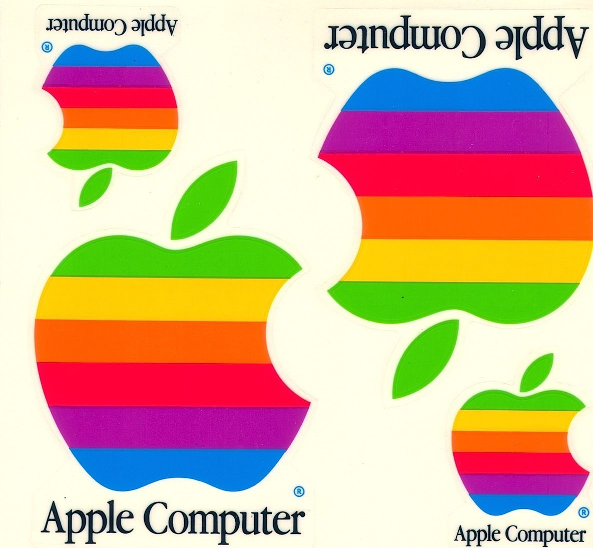 Original Vintage Macintosh Apple Computer Rainbow Logo Stickers