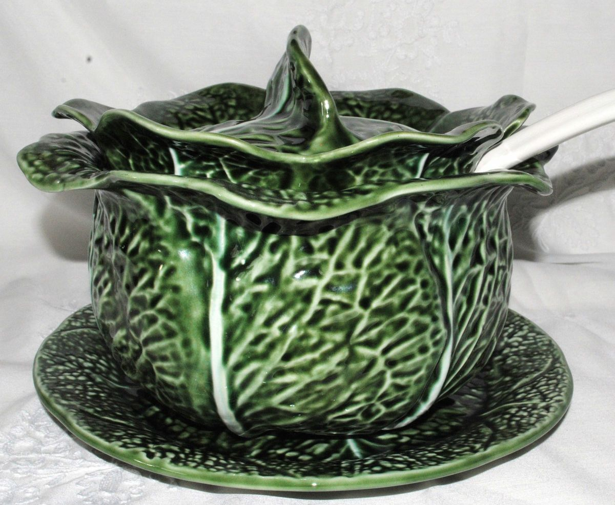 Vtg Secla Portugal Cabbage Soup Tureen Underplate Laddle Green On Popscreen