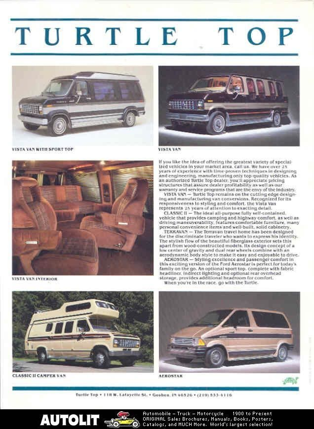 1987 Turtle Top Ford Conversion Van camper Brochure
