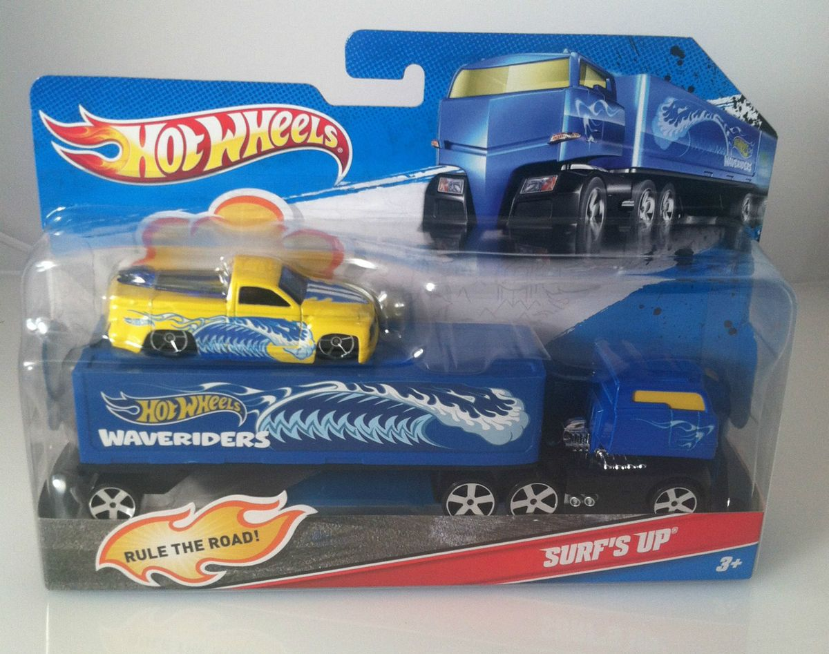 2011 Hot Wheels by Mattel Semi Truck w Trailer and Surfs Up Car Toy