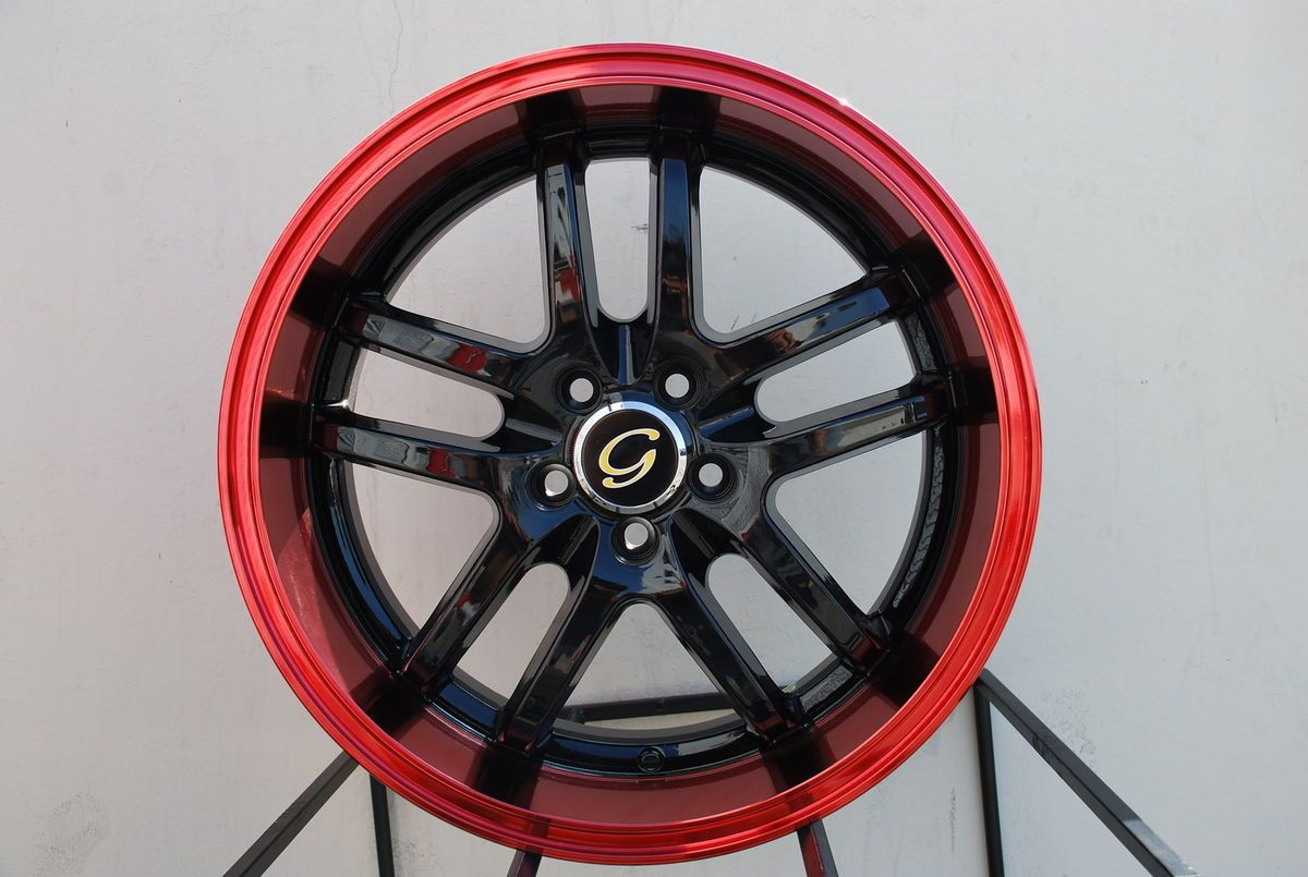 Wheel 5x108 38 Black Red Rim Fits Volvo V40 S40 V70 S60 C70